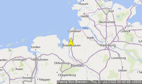 Letzte erfasste Schiffsposition der Ubena von Bremen