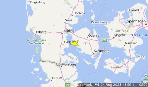 Letzte erfasste Schiffsposition der Danmark
