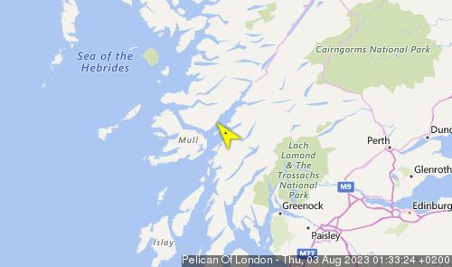 Letzte erfasste Schiffsposition der Pelican of London
