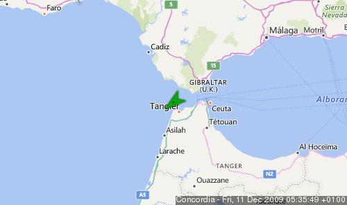 Letzte erfasste Schiffsposition der Concordia