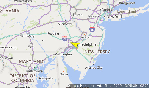 Letzte erfasste Schiffsposition der Gazela of Philadelphia