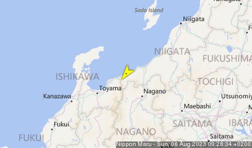 Letzte erfasste Schiffsposition der Nippon Maru II