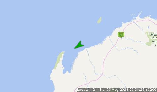 Letzte erfasste Schiffsposition der Leeuwin II